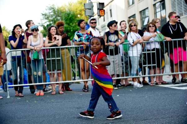 A little girl marches during the 2013 Capital Pride parade in Washington on June 8, 2013. AFP PHOTO/Nicholas KAMM