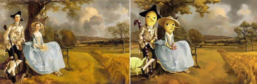 """""""Mr. and Mrs. Andrews"""" by Thomas Gainsborough reimagined with the Earl of Lemongrab and Lady Lemongrabs from """"Adventure Time."""""""