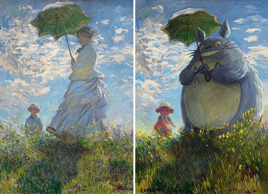 """""""Woman with a Parasol"""" by Claude Monet reimagined with Chu Totoro."""