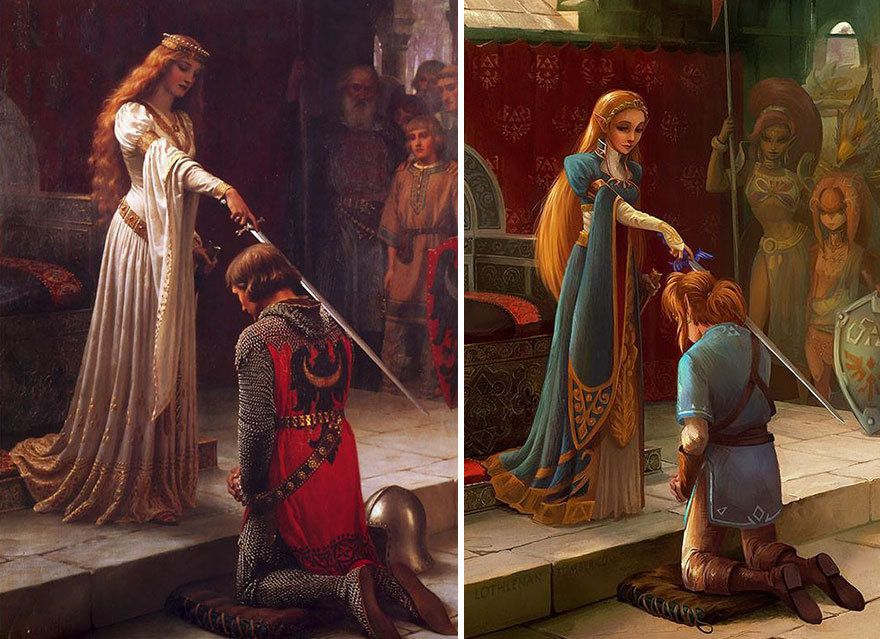 """""""The Accolade"""" by Edmund Leighton reimagined with Link and Princess Zelda."""