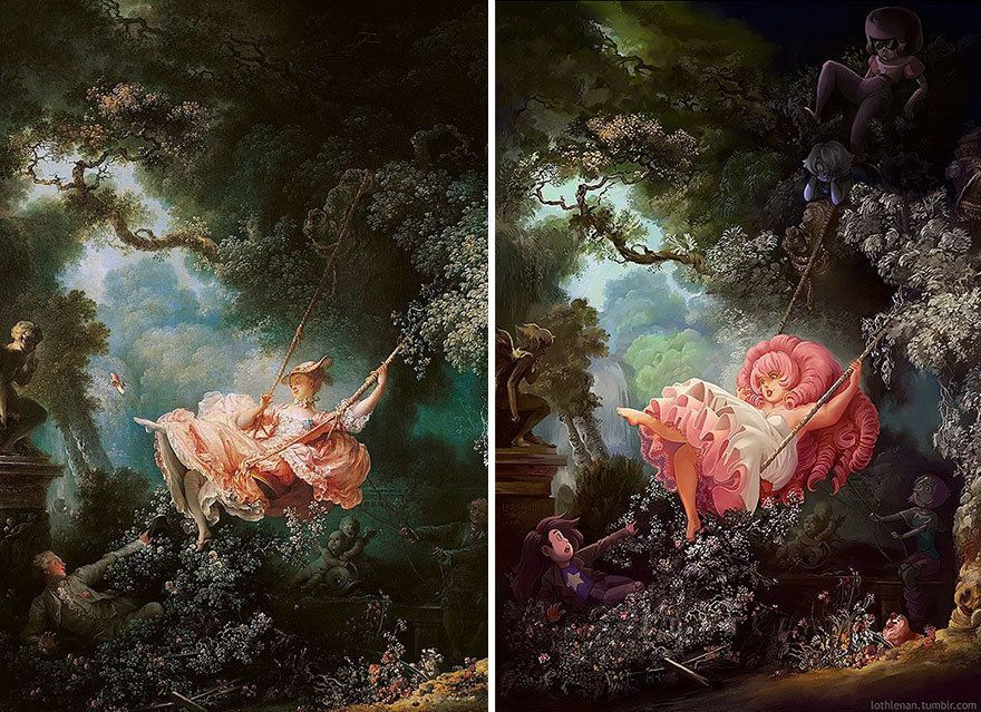 """The Swing"" by Jean-Honoré Fragonard reimagined with Rose Quartz from ""Steven Universe."""
