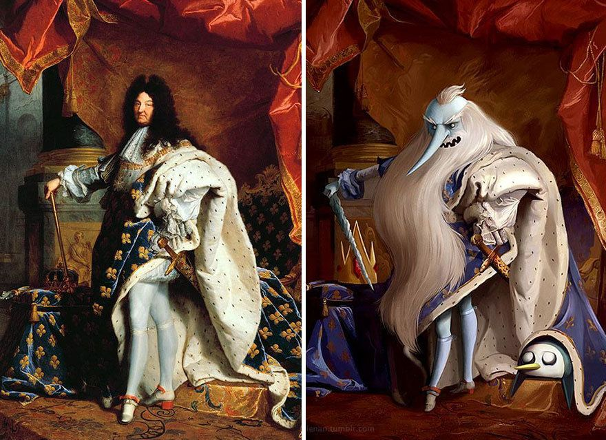 """""""Portrait of Louis XIV"""" by Hyacinthe Rigaud reimagined with Ice King from """"Adventure Time."""""""