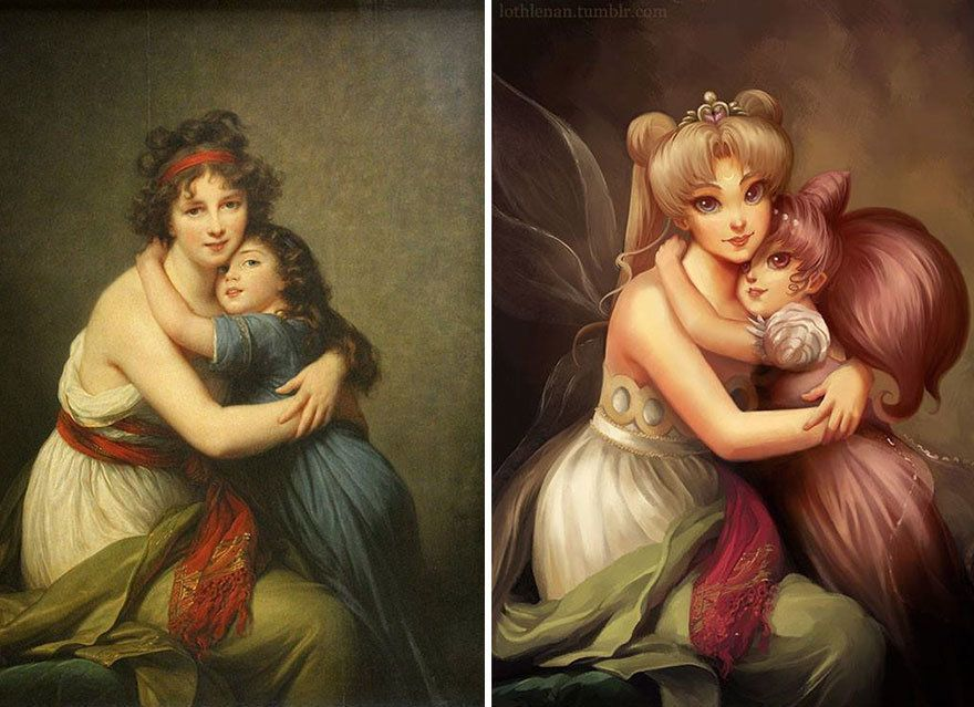 """""""Self-portrait with Her Daughter"""" by Élisabeth Louise Vigée Le Brun reimagined with Sailor Moon and Rini."""