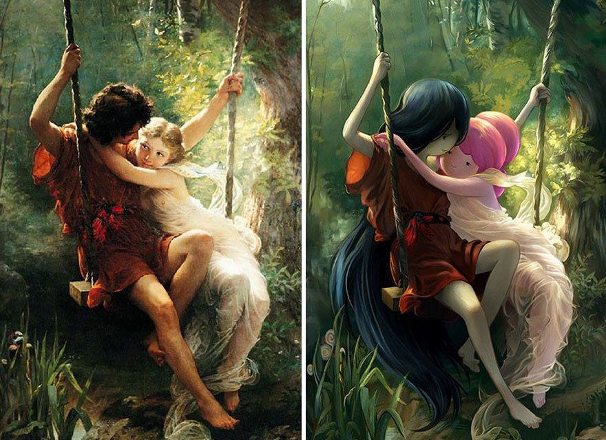 """Lovers on a Swing"" by Pierre Auguste Cot reimagined with Princess Bubblegum and Marceline from ""Adventure Time.&r"