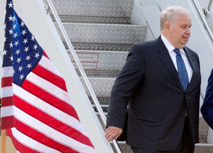 Sergey Kislyak, Russia's ambassador to the United States, arrives at Dulles International Airport in Chantilly, Virginia, U.S