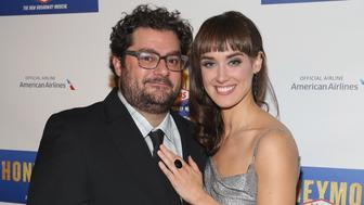 NEW YORK, NY - JANUARY 15:  Bobby Moynihan (L) and Brynn O'Malley attend 'Honeymoon In Vegas' Broadway Opening Night After Party at Hard Rock Cafe - Times Square on January 15, 2015 in New York City.  (Photo by Robin Marchant/Getty Images)