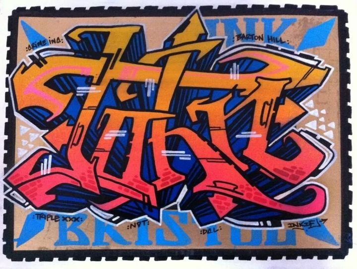 """Inkie dedicated this graffiti piece, entitled """"John,"""" to Nation -- who he says has played a critical role in the Bristol stre"""