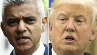 (COMBO)(FILES) This combination of files pictures created on June 5, 2017 shows Mayor of London Sadiq Khan after visiting Borough High Street in London on June 5, 2017, the site of the June 3 terror attack, near to Borough Market and US President Donald Trump during his meeting with the Israeli President at his residence in Jerusalem on May 22, 2017.    US President Donald Trump renewed his criticism of London Mayor Sadiq Khan on June 5, 2017, in the second such condemnation in the 48 hours since a terror attack in the British capital. Trump accused Khan of offering a 'pathetic excuse' for comments that Trump earlier misconstrued about policing in response to Saturday's attack, which left seven people dead.Khan had told Londoners there was 'no reason to be alarmed' about an increased police presence in the coming days.   / AFP PHOTO / AFP PHOTO AND POOL / Odd ANDERSEN AND ATEF SAFADI        (Photo credit should read ODD ANDERSEN,ATEF SAFADI/AFP/Getty Images)