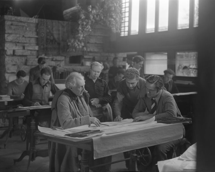 Wright with students at Taliesin East.