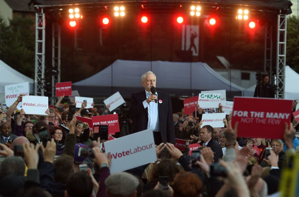 Jeremy Corbyn speaks at a general election campaign event in Birmingham, on June 6,