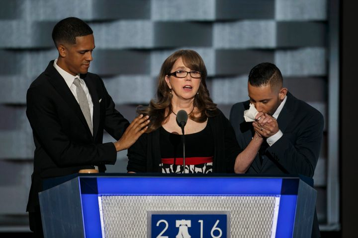 PHILADELPHIA, PA. -- WEDNESDAY, JULY 27, 2016: Brandon Wolf, from left, Christine Leinonen and Jose Arraigada at the 2016 Democratic National Convention, in Philadelphia, Pa.