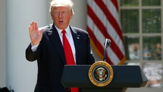 U.S. President Donald Trump announces his decision that the United States will withdraw from the Paris Climate Agreement, in the Rose Garden of the White House in Washington, U.S., June 1, 2017. REUTERS/Kevin Lamarque