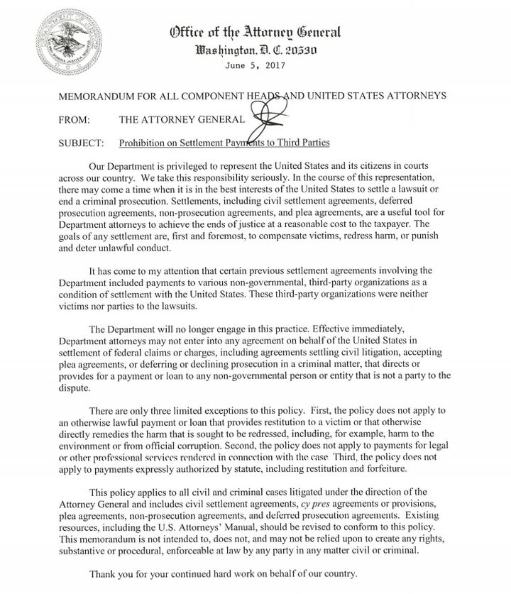 Jeff Sessions Kills Doj Settlement Practice That Funded Community