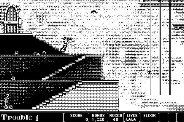 Screen shot of Dark Castle, as played in the Internet Archive's emulator.