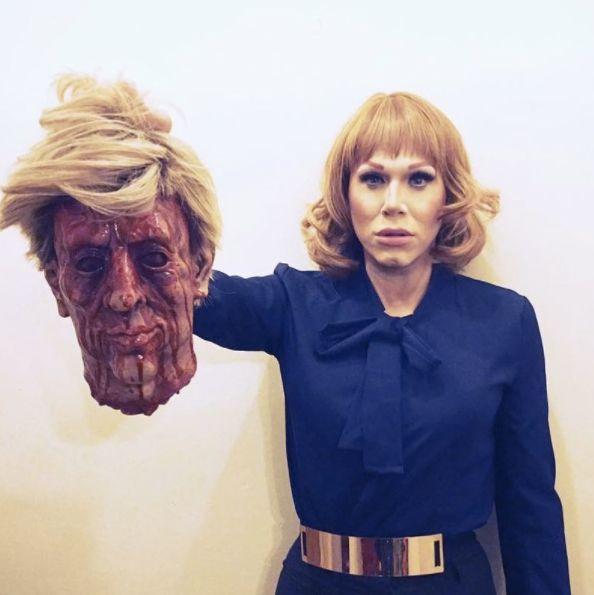 Drag Queen Sharon Needles Recreates Kathy Griffin's Controversial Trump