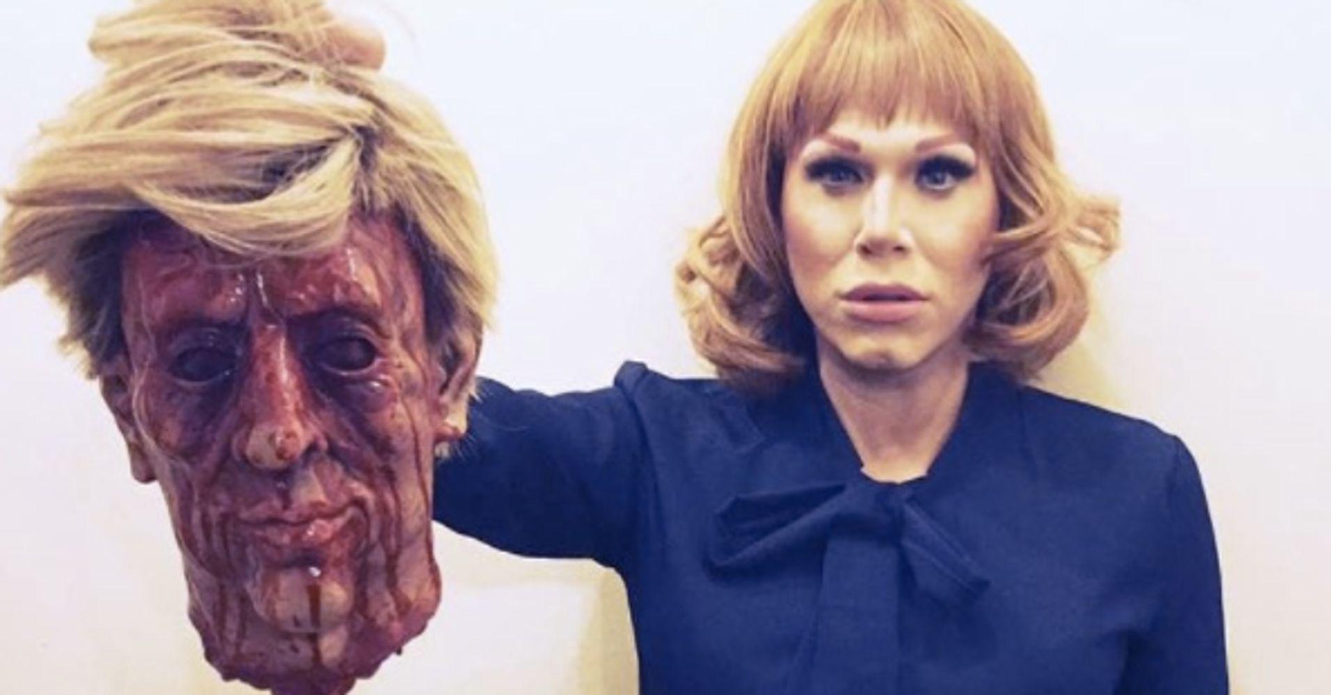 Drag Queen Sharon Needles Recreates Kathy Griffin's Controversial Trump Photo