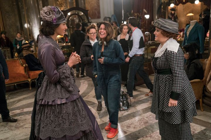 Director Patty Jenkins and Gal Gadot on the set of Wonder Woman