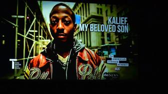 A photo of Kalief Browder seen at a panel attended by his mother in 2016 Browder spent three years locked up at Rikers for a crime he maintains he didnt commit and was ultimately never tried for
