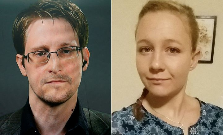 Edward Snowden, left, and Reality Winner, right.