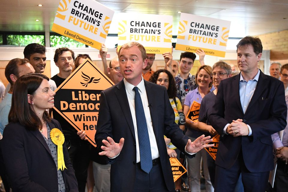 Lib Demleader Tim Farron speaks at a campaign event with Nick Clegg and Lib Dem MP for Richmond...