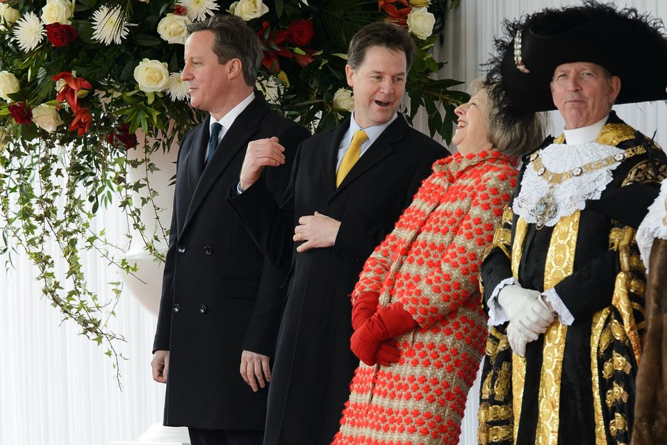 Nick Clegg shares a joke with then home secretary Theresa Maybefore the arrival of the President...