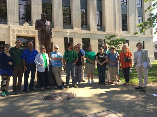 Supporters of Wendi Wright at the Weakley County (TN) Courthouse on June 2, 2017