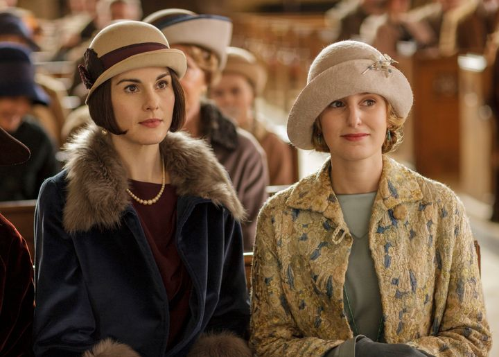 Michelle Dockery and Laura Carmichael in <em>Downton Abbe</em>y.