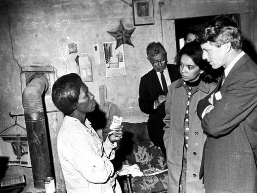 Robert F Kennedy and Marian Wright Edelman (to his right) visiting the Mississippi Delta on April 11, 1967