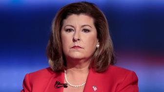 Republican candidate Karen Handel collects herself moments before her Georgia's 6th Congressional District special election debate against Democratic candidate Jon Ossoff at WSB-TV studios in Atlanta, Georgia, U.S. June 6, 2017.  REUTERS/Chris Aluka Berry