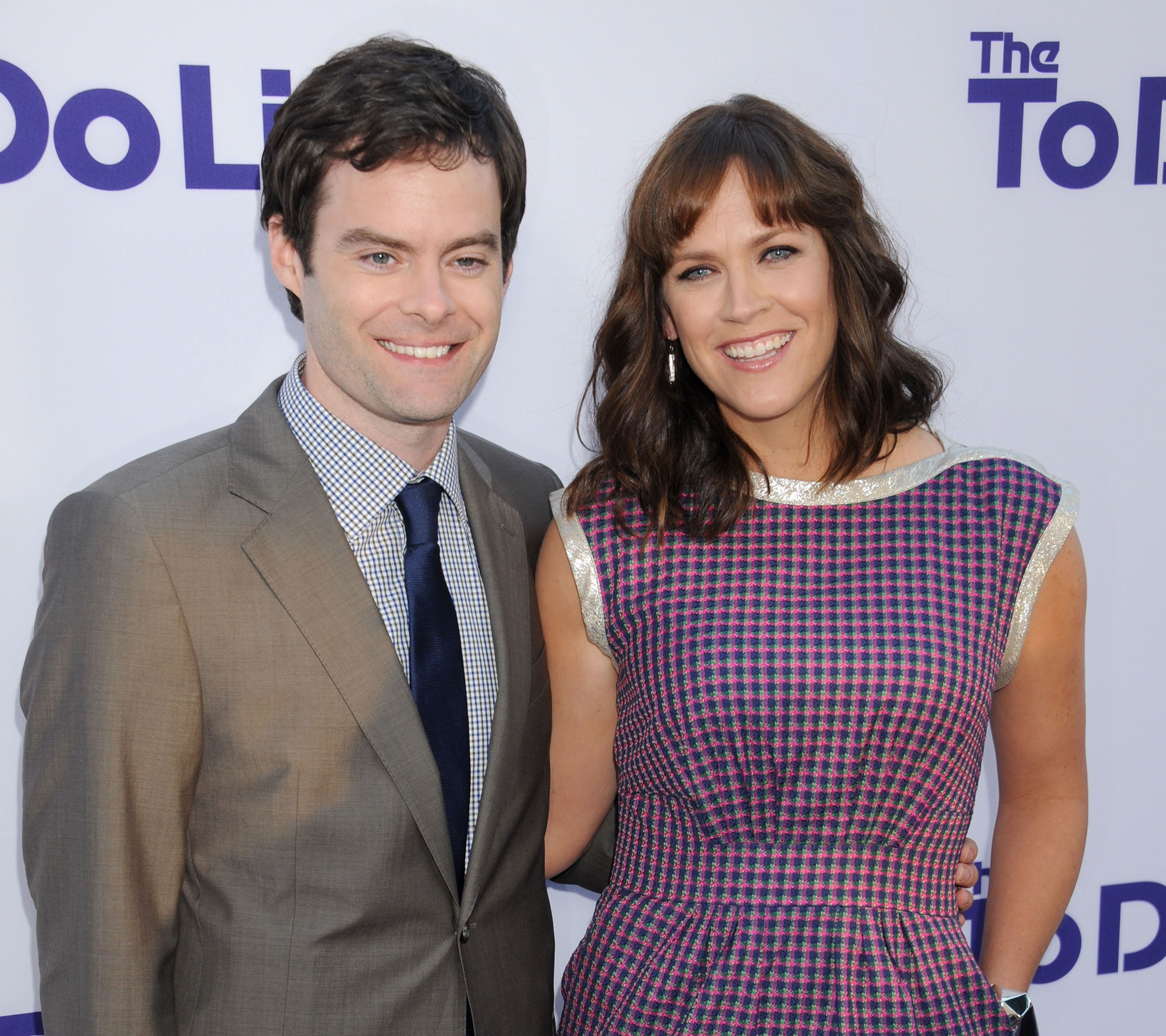 LOS ANGELES, CA - JULY 23:  Actor Bill Hader and director/writer Maggie Carey arrive at the Los Angeles premiere of 'The To Do List' at Regency Bruin Theatre on July 23, 2013 in Los Angeles, California.  (Photo by Gregg DeGuire/WireImage)