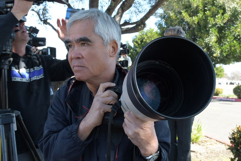 Nick Ut on assignment for AP.