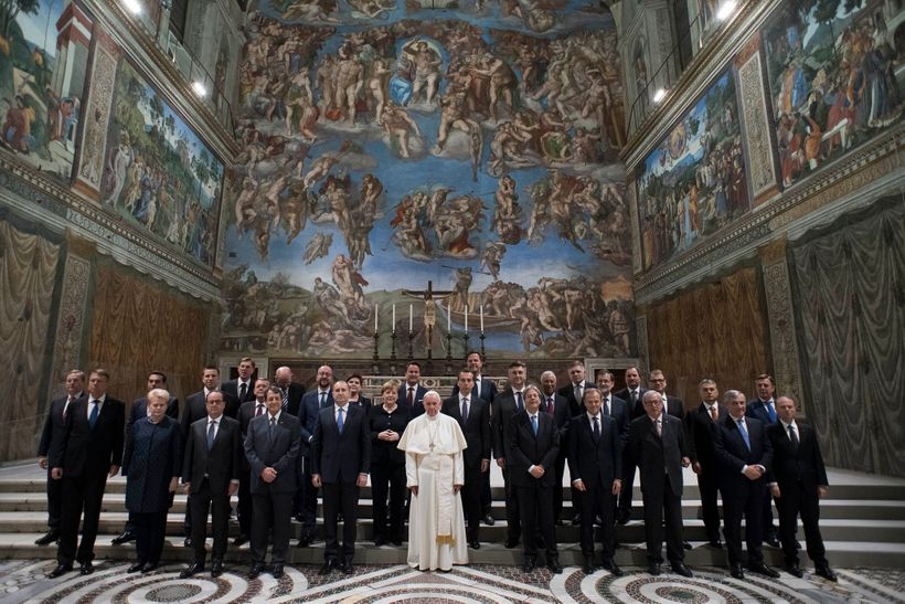 European leaders with Pope Francis on the 60th Anniversary of the Rome Treaties. Photo: European Council