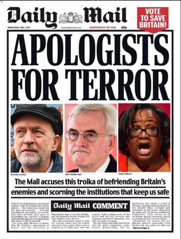 The Daily Mail's front page accused Corbyn of 'befriending Britain's