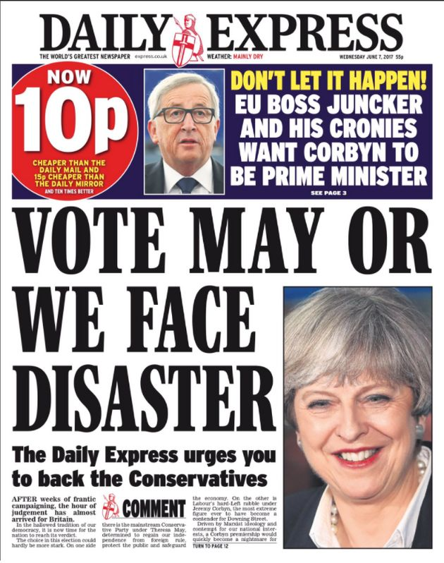 The Daily Express urged its readers to vote