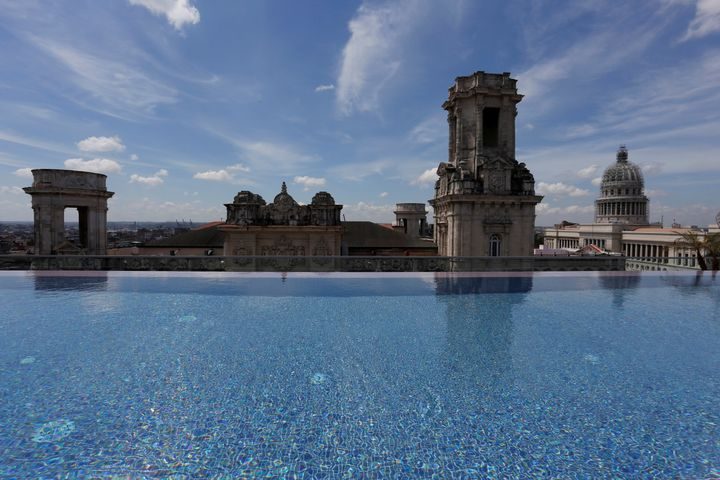 The rooftop infinity pool at the Gran Hotel Manzana in Havana.