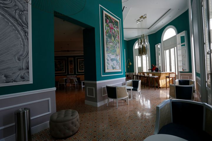 A lounge and a bar are seen at the Gran Hotel Manzana, which is owned by the Cuban government and managed by Swiss-based Kempinski Hotels SA.