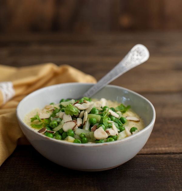 """<strong>Get the <a href=""""https://naturallyella.com/polenta-with-peas-fennel-and-almonds/"""" target=""""_blank"""">Polenta With Peas,"""