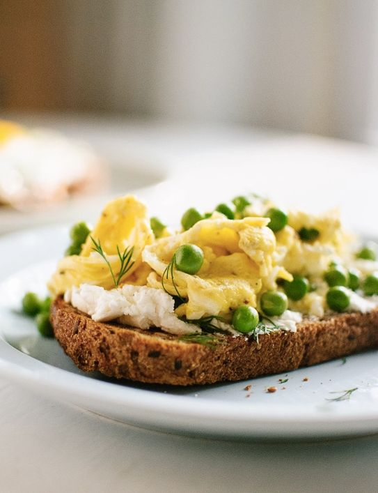 """<strong>Get the <a href=""""http://cookieandkate.com/2014/simple-goat-cheese-and-egg-toasts-with-peas-and-dill/"""" target=""""_blank"""""""