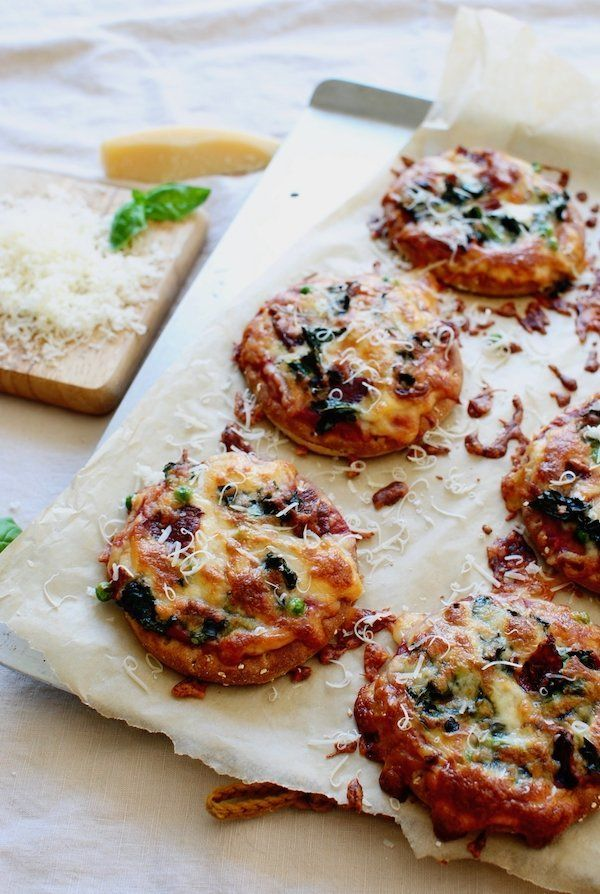 """<strong>Get the <a href=""""http://bevcooks.com/2017/04/mini-kale-bacon-pea-pizzas/"""" target=""""_blank"""">Mini Kale, Bacon And Pea Pi"""