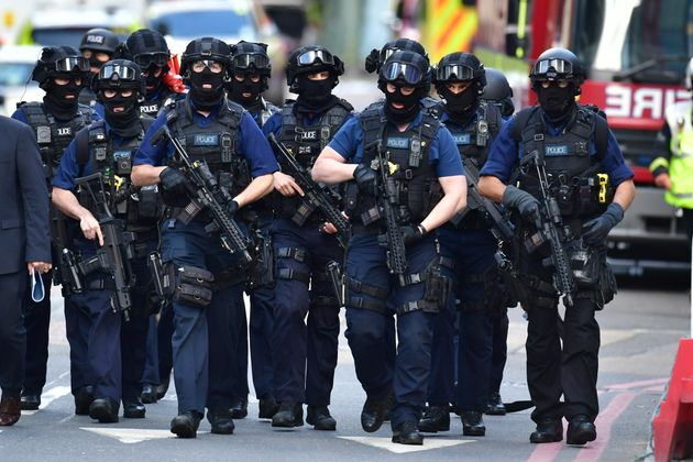 Armed police on St Thomas Street, London, near the scene of the London Bridge attack. May gave her...