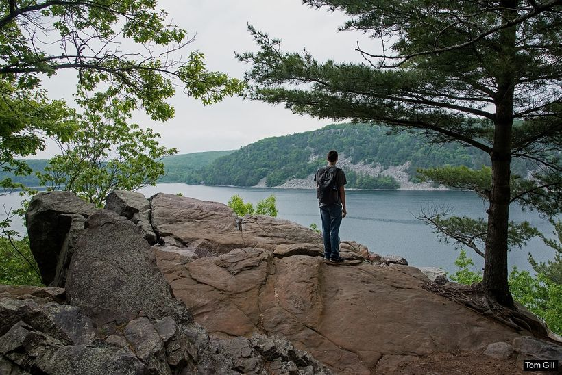Pausing to take in the view of Devil's Lake.