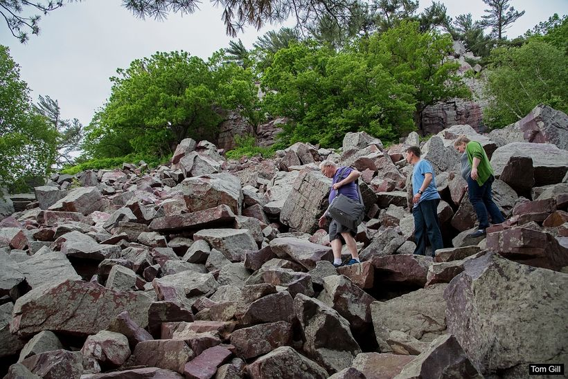Hiking through the boulder debris is a bit challenging at times.