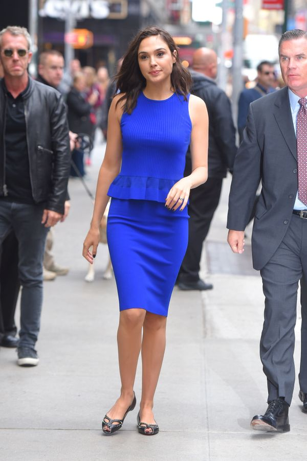 Out in New York City in Christian Louboutin flats.