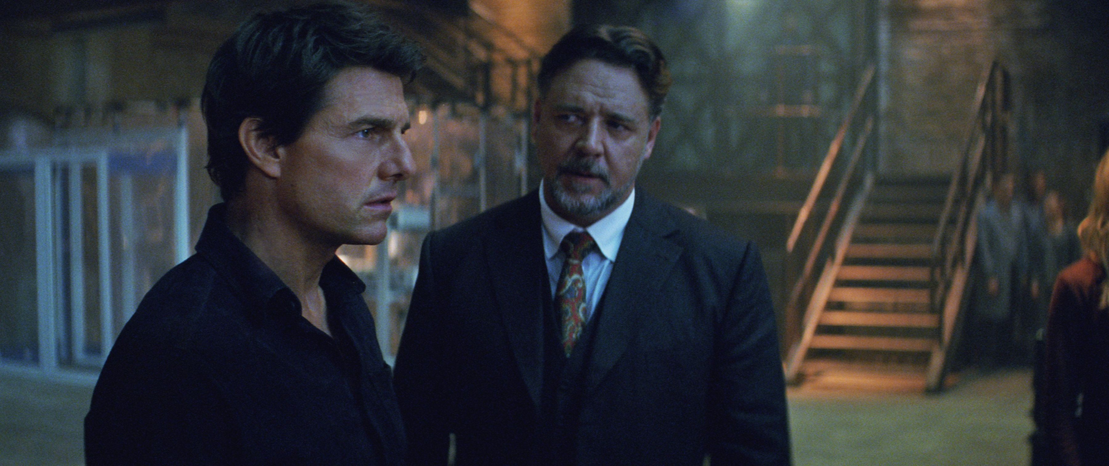 "(L to R) Nick Morton (TOM CRUISE) and Dr. Henry Jekyll (RUSSELL CROWE) in a spectacular, all-new cinematic version of the legend that has fascinated cultures all over the world since the dawn of civilization: ""The Mummy.""  From the sweeping sands of the Middle East through hidden labyrinths under modern-day London, ""The Mummy"" brings a surprising intensity and balance of wonder and thrills in an imaginative new take that ushers in a new world of gods and monsters"