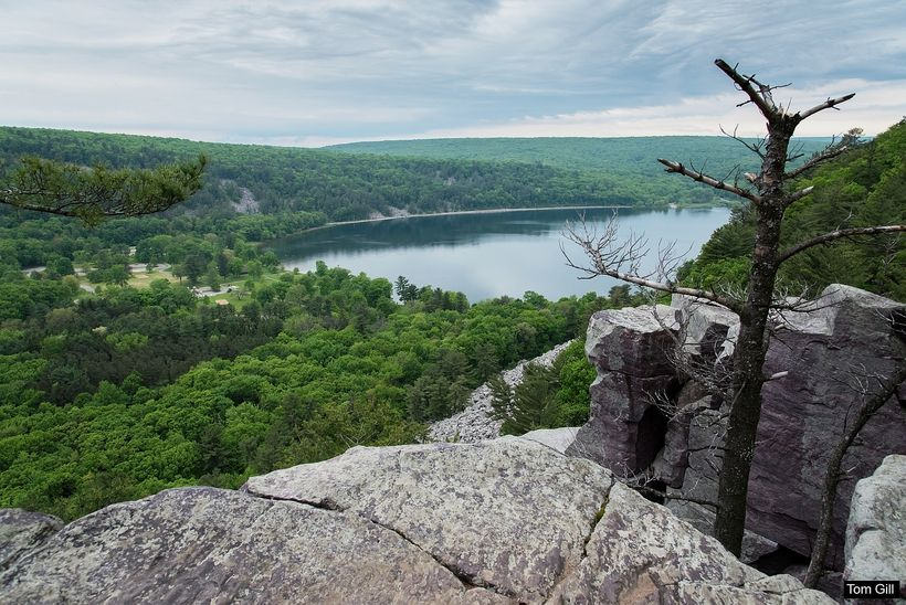 Devil's Lake seen from high above the bluffs.