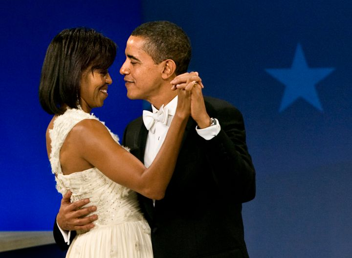President Barack Obama and his wife Michelle make an appearance at the President's Home States Ball on the evening of his inauguration as the 44th U.S. President in Washington, D.C., on Tuesday 20 January 20 2009.
