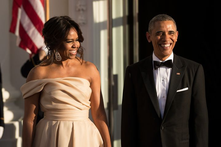 First Lady Michelle Obama and U.S. President Barack Obama wait for leaders to arrive for the Nordic state dinner on the North Portico at the White House, May 13, 2016, in Washington, DC.