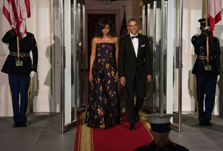 US President Barack Obama and First Lady Michelle Obama walk out to greet Canadian Prime Minister Justin Trudeau and his wife Sophie Gregoire Trudeau for a State Dinner in their honour at the White House in Washington, DC, on March 10 2016.