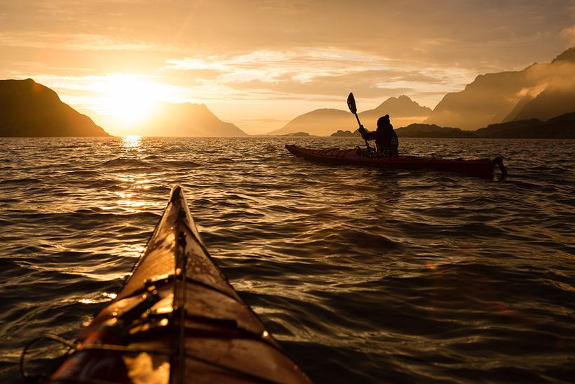 Kayaking under the Midnight Sun in Northern Norway