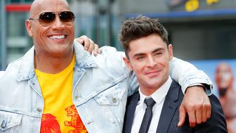 BERLIN, GERMANY - MAY 30: Dwayne Johnson and Zac Efron attend the 'Baywatch' Photo Call in Berlin on May 30, 2017 in Berlin, Germany. (Photo by Franziska Krug/Getty Images)